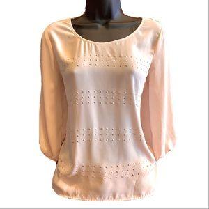 BCX Light Pink Studded 3/4th Sleeve Top